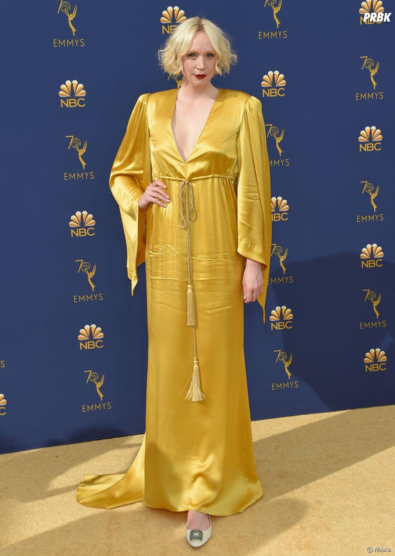 Gwendoline Christie sur le tapis rouge des Emmy Awards 2018 le 17 septembre à Los Angeles