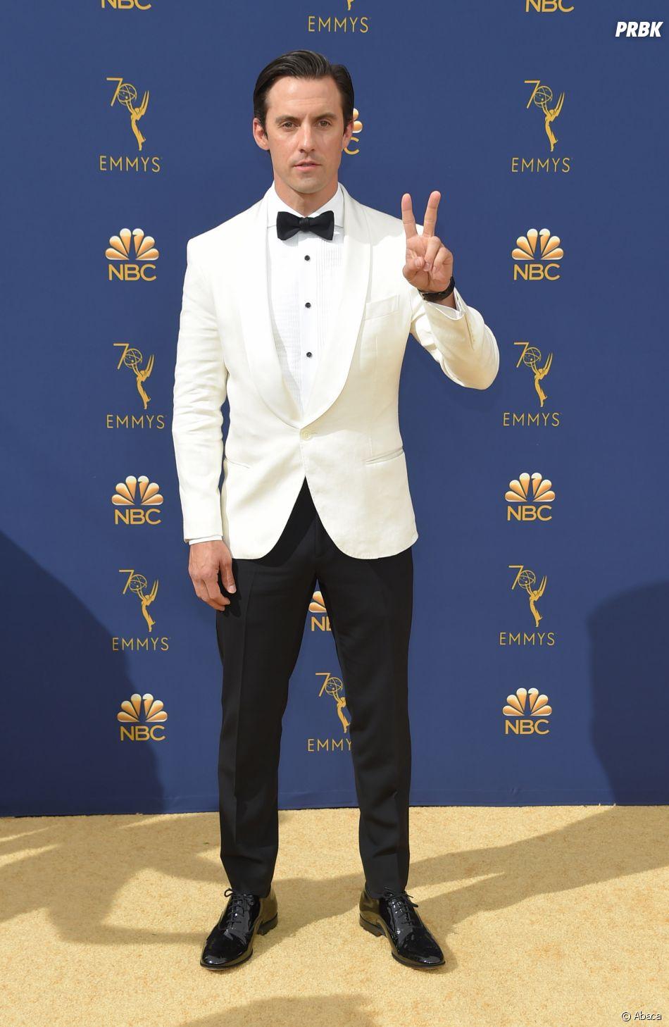 Milo Ventimiglia sur le tapis rouge des Emmy Awards 2018 le 17 septembre à Los Angeles