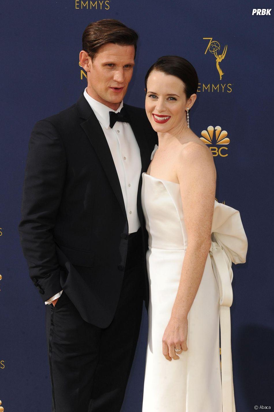 Matt Smith et Claire Foy sur le tapis rouge des Emmy Awards 2018 le 17 septembre à Los Angeles