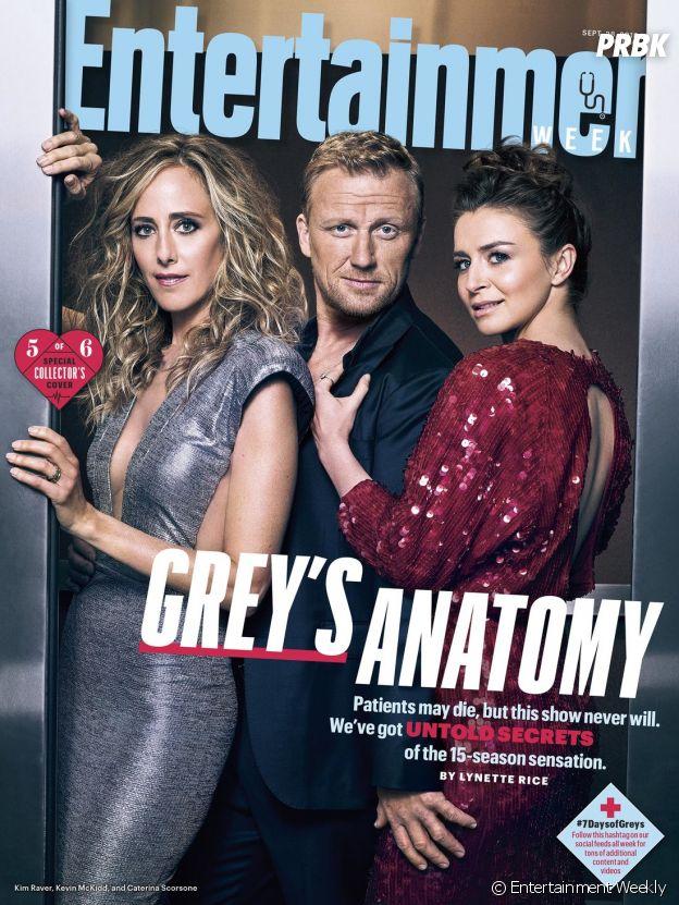 Grey's Anatomy saison 15 : la couverture spéciale avec Kim Raver (Teddy), Kevin McKidd (Owen) et Caterina Scorsone (Amelia)