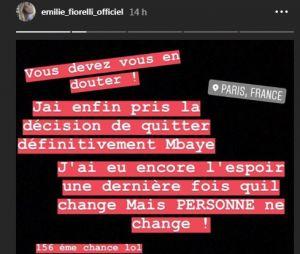 Emilie Fiorelli annonce sa rupture avec M'Baye Niang sur Instagram