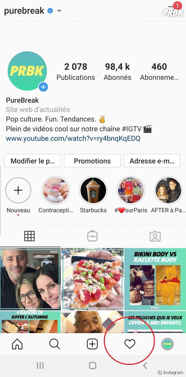 """Instagram : la page """"following"""" (""""abonné(e)"""") qui se trouve dans l'onglet """"coeur"""" en bas à droite va être supprimée."""