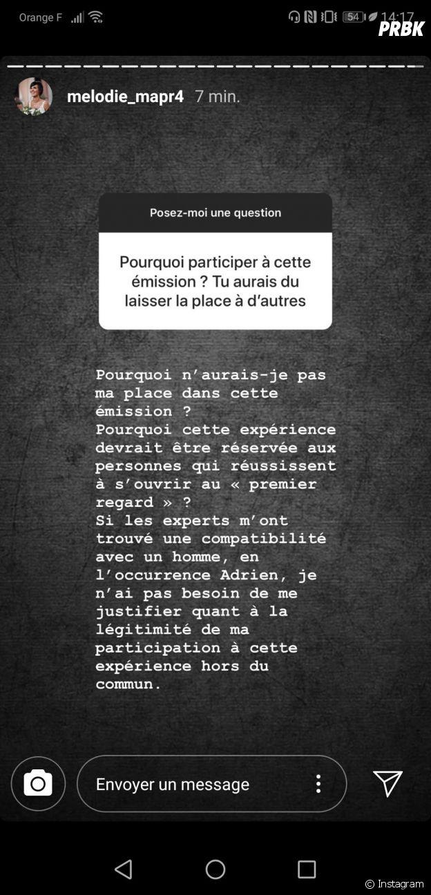 Mélodie (Mariés au premier regard 2020) pas sincère envers Adrien ? Elle répond sur Instagram