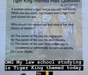 Kim Kardashian passe un examen de droit... avec une question sur Carole Baskin vue dans Tiger King sur Netflix