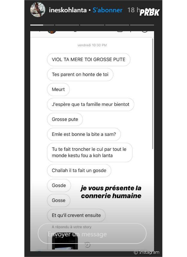 Koh Lanta 2020 : Inès partage les menaces reçus sur son compte Instagram