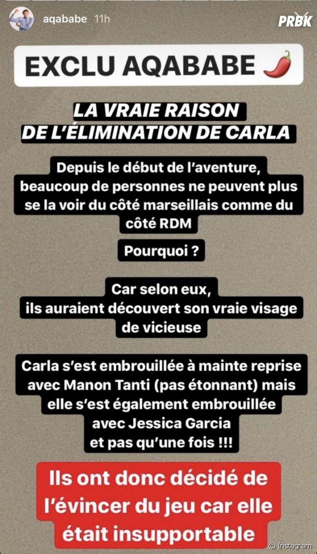 Les Marseillais VS Le reste du monde 5 : Carla Moreau éliminée ? Les candidats ne pourraient plus la voir