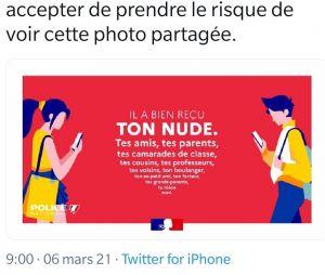 Twitter : le hashtag #sexting en TT suite à une campagne controversée de la police nationale sur les nudes et le revenge porn, la police s'excuse