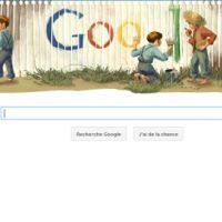 Google Dooldle spécial Mark Twain : Tom Sawyer puni mais honoré