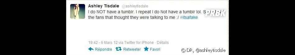 Ashley Tisdale prévient ses fans de l'entourloupe !