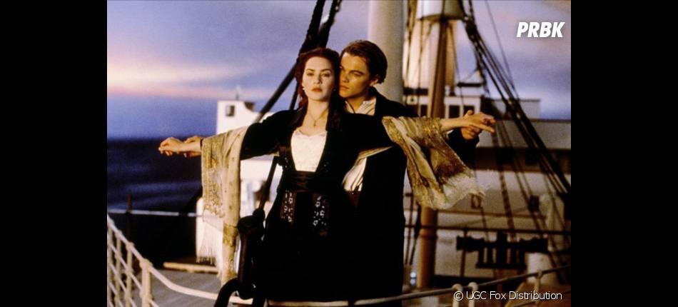 Leonardo Dicaprio et Kate Winslet amoureux dans Titanic
