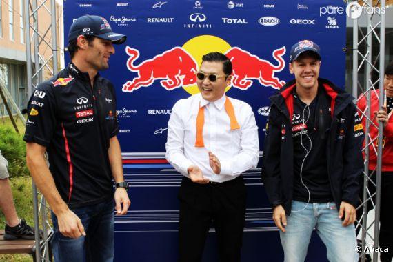 Psy donne une leçon de horse-dance à Mark Webber et Sebastian Vettel
