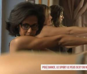 """Audrey Pulvar teste le pole dance pour sa chronique """"En immersion"""" diffusée dans l'émission Le Grand 8 sur D8."""