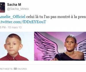 Sacha s'est moqué des oreilles légèrements décollées d'Amélie sur Twitter...