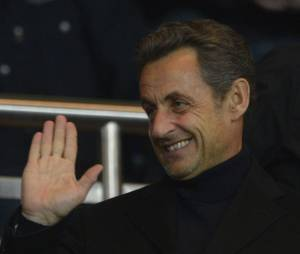 Nicolas Sarkozy venu en grand supporter du PSG au parc des Princes le 29 mars 2013