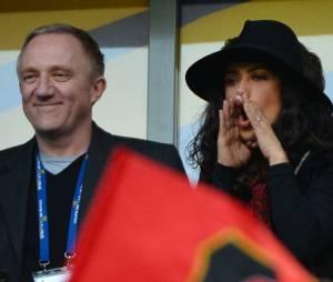 Salma Hayek a tout donné pour le Stade Rennais, samedi 20 avril 2013 au Stade de France