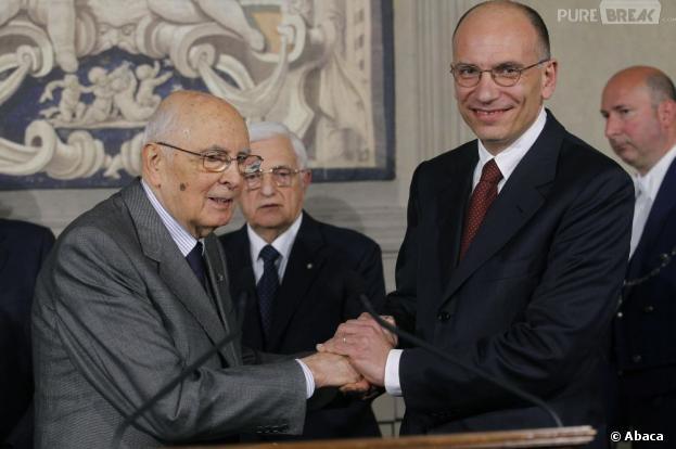 Le Premier ministre italien Enrico Letta salue le Président de la république Giorgio Napolitano, 88 ans.