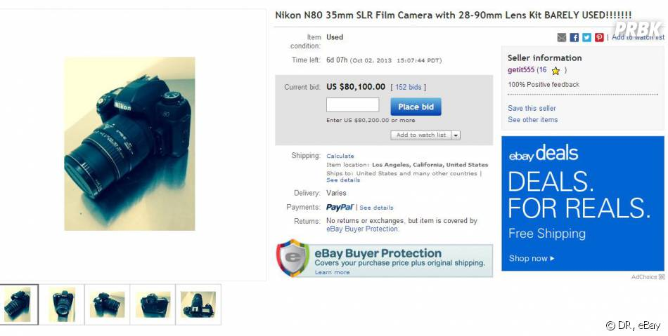 Miley Cyrus a mis en vente son ancien appareil photo sur eBay