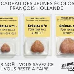 Une paire de couilles : le joli cadeau des jeunes Verts à François Hollande