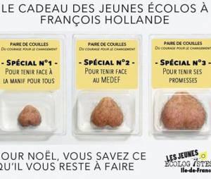 François Hollande : les Jeunes Verts proposent de lui offrir une nouvelle paire de couilles pour Noël