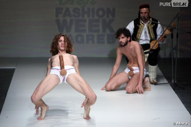 Défilé de slips pénis par Toni Rico à Zagreb (Croatie) le samedi 23 novembre
