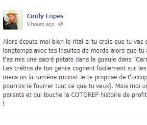 Secret Story : le message en question posté par Cindy Lopes sur sa page Facebook