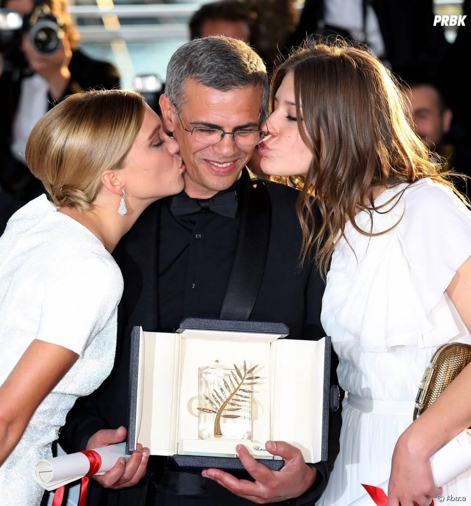 La Vie d'Adèle : Abdellatif Kechiche, Léa Seydoux et Adèle Exarchopoulos au festival de Cannes 2013