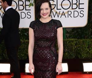 Golden Globes 2014 : Elisabeth Moss sur le tapis-rouge le 12 janvier 2014 à Los Angeles