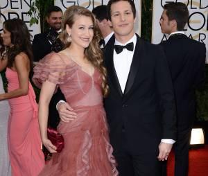 Golden Globes 2014 : Andy Samberg et sa femme sur le tapis-rouge le 12 janvier 2014 à Los Angeles
