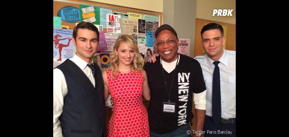 Dianna Agron, Chace Crawford et Mark Salling sur le tournage de l'épisode 100 de Glee