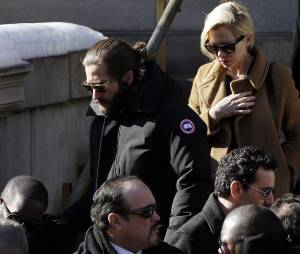 Jake Gyllenhaal et Michelle Williams à l'enterrement de Philip Seymour Hoffman, le 7 février 2014 à New-York
