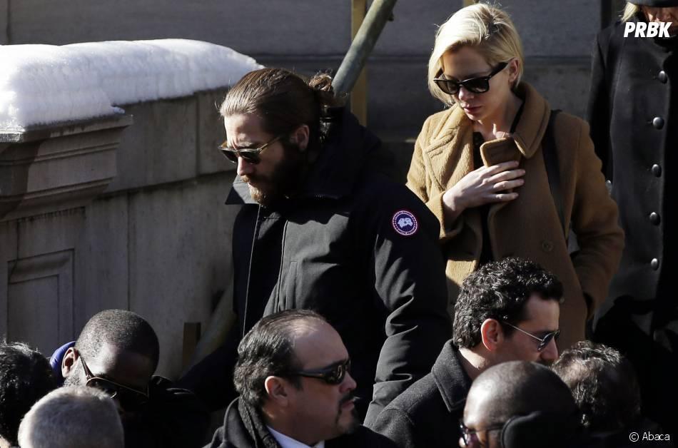 Jake Gyllenhaal et Michelle Williams à l'enterrement de Philip Seymour Hoffman, le 7 février 2014 à New-York