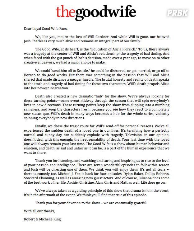 The Good Wife saison 5 : lettre des créateurs sur la mort d'un des personnages