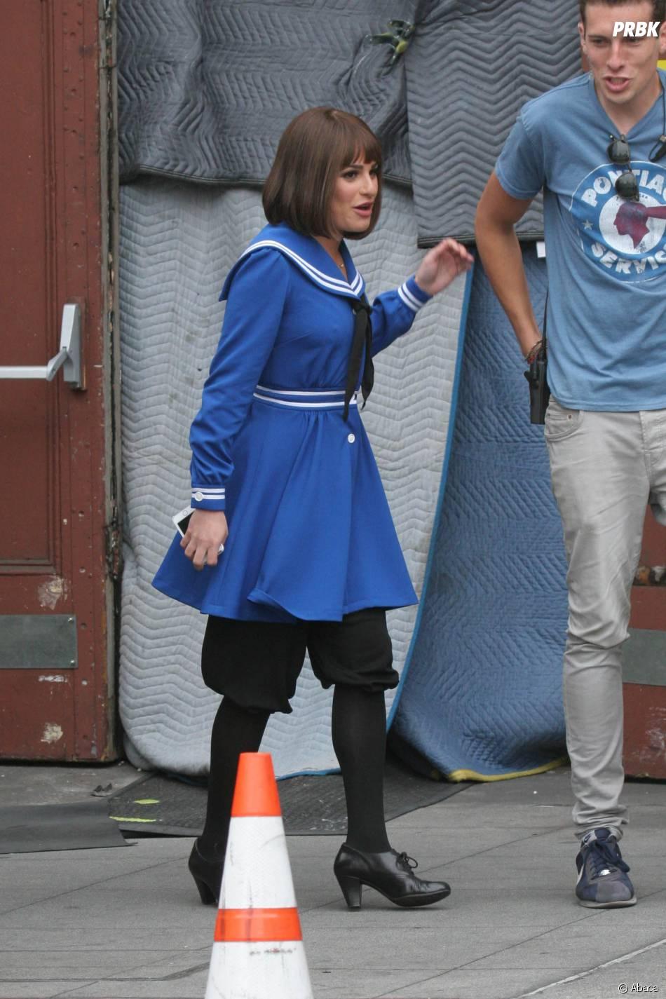 Glee saison 5 : Lea Michele en costume sur le tournage le 10 avril 2014