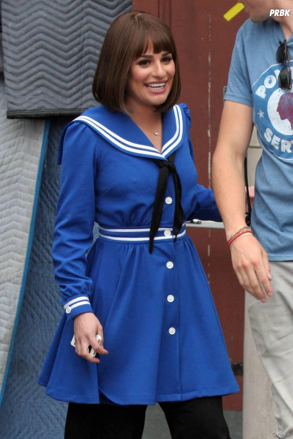 Glee saison 5 : Lea Michele et sa perruque sur le tournage le 10 avril 2014