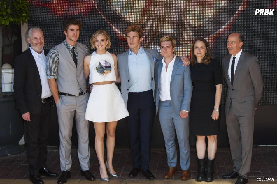 Jennifer Lawrence, Liam Hemsworth, Josh Hutcherson et toute le cast d'Hunger Games 3 au Festival de Cannes 2014, le 17 mai