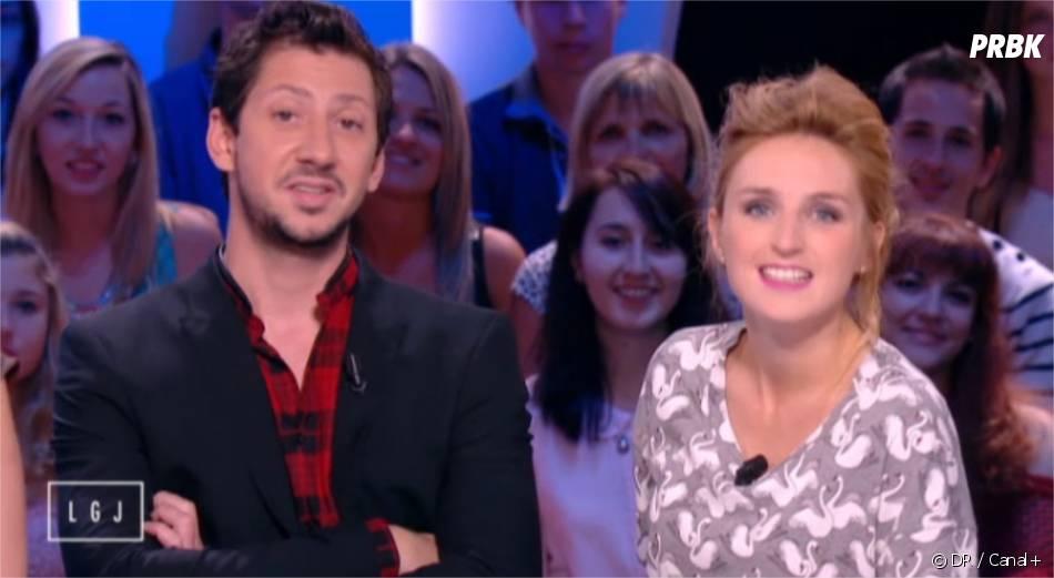 Alison Wheeler et Monsieur Poulpe présentent leur première à la météo de Canal+ le 9 septembre 2014