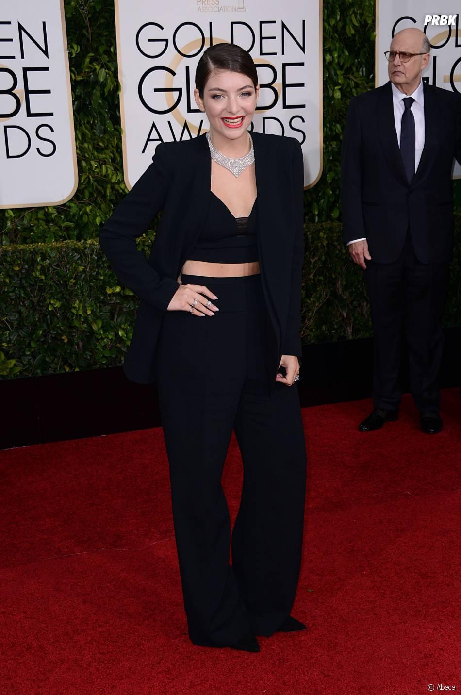 Lorde sur le tapis rouge des Golden Globes, le 11 janvier 2015 à Los Angeles