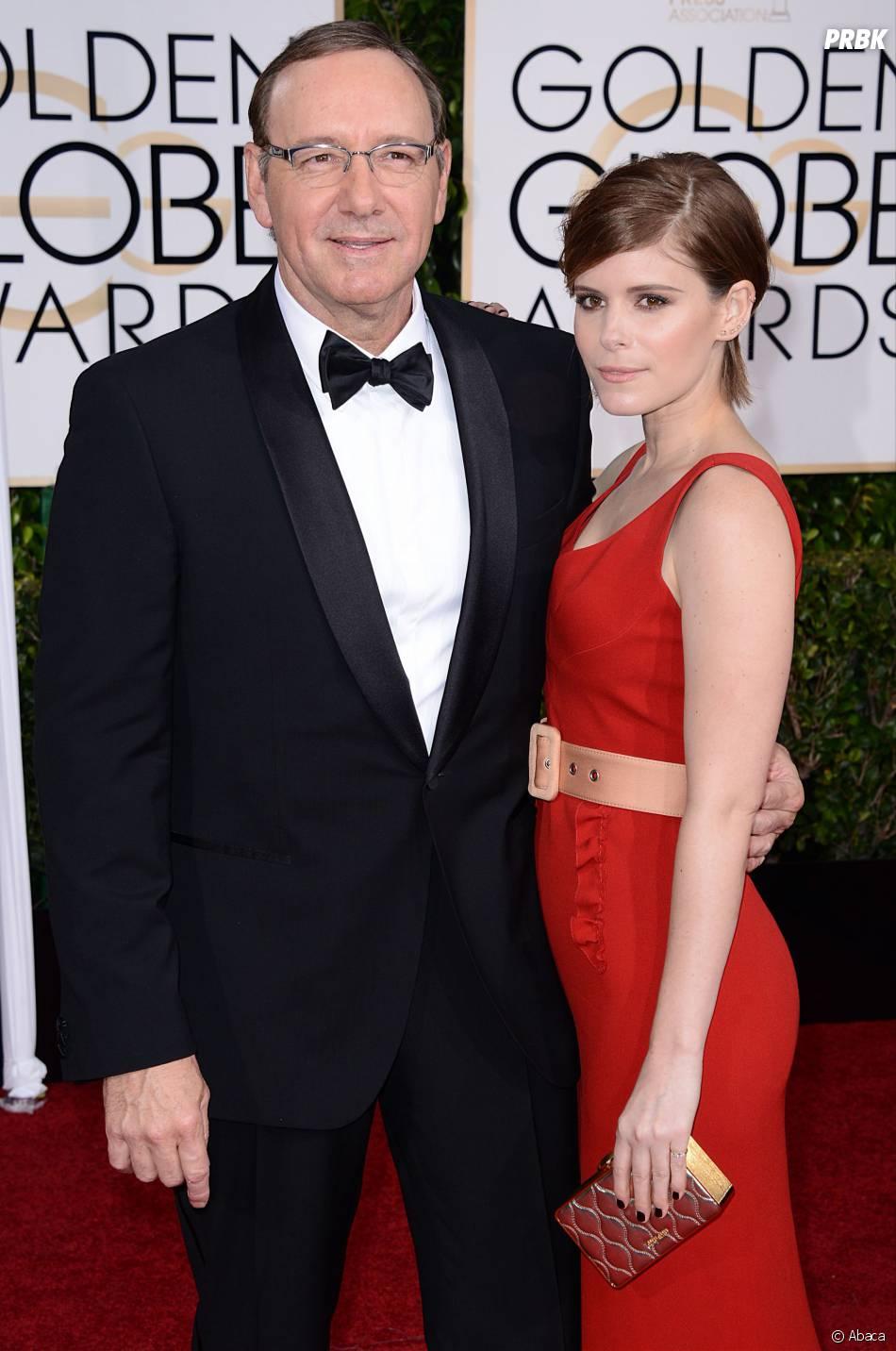 Kevin Spacey et Rooney Mara sur le tapis rouge des Golden Globes, le 11 janvier 2015 à Los Angeles
