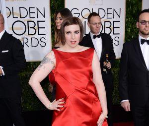 Lena Dunham sur le tapis rouge des Golden Globes, le 11 janvier 2015 à Los Angeles