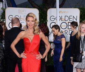 Heidi Klum sur le tapis rouge des Golden Globes, le 11 janvier 2015 à Los Angeles