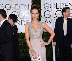 Kate Beckinsale sur le tapis rouge des Golden Globes, le 11 janvier 2015 à Los Angeles