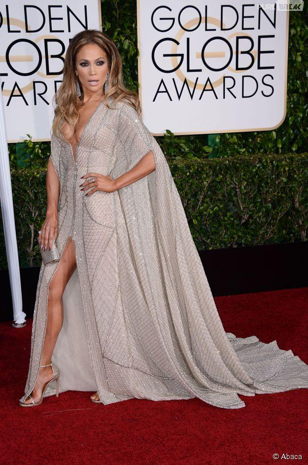 Jennifer Lopez sur le tapis rouge des Golden Globes, le 11 janvier 2015 à Los Angeles