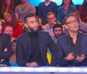 La Fouine aux côtés de Julien Courbet et Thierry Moreau dans TPMP, le 14 janvier 2015, sur D8