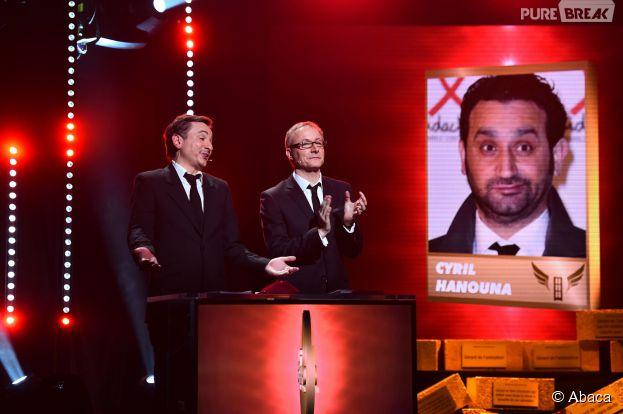 Frede Royer, à gauche, pendant la soirée des Gérard de la télévision 2015, le 19 janvier 2015 à Paris