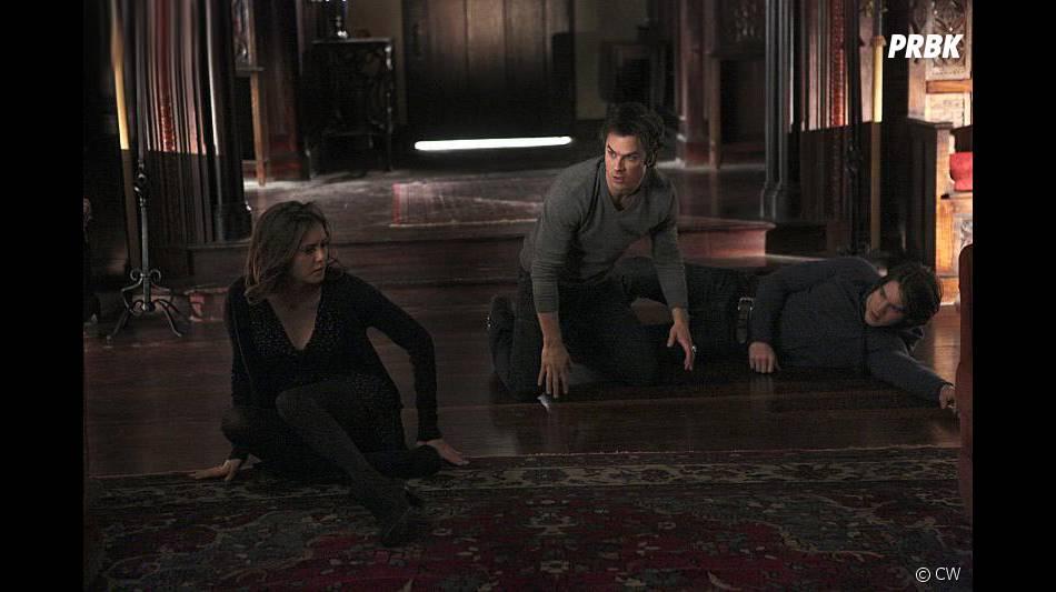 The Vampire Diaries saison 6, épisode 13 : Nina Dobrev, Ian Somerhalder et Steven R. McQueen sur une photo