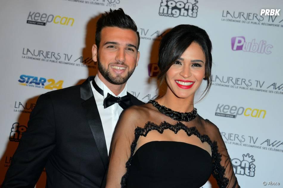 Leila Ben Khalifa et Aymeric Bonnery en couple pendant la cérémonie des Lauriers TV Awards, le 6 janvier 2015 à Paris