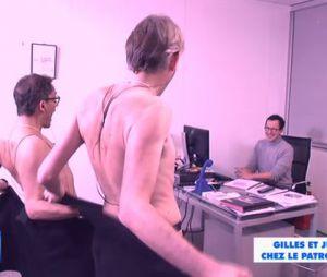 Gilles Verdez et Julien Courbet (presque) nus dans le bureau du patron de D8, dans TPMP, le 11 février 2015