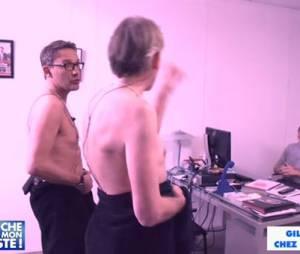 Julien Courbet et Gilles Verdez en serviette dans le bureau du patron de D8
