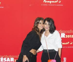 Leila Bekhti et Géraldine Nakache, amis complices avant le dîner de gala des César 2015, février 2015