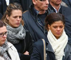 Laure Manaudou et Coralie Balmy à l'enterrement de la nageuse olympique Camille Muffat, le 25 mars 2015 à Nice